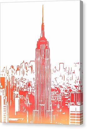Empire State Building And Manhattan Skyline Sketch Canvas Print by Dan Sproul