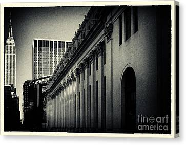 Empire State Building And Us Post Office Building New York City Canvas Print by Sabine Jacobs
