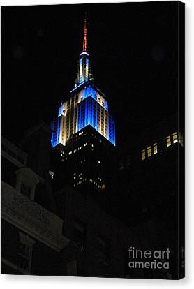 Empire State Building At Night Canvas Print by Emmy Marie Vickers