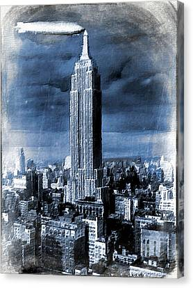 Empire State Building Blimp Docking Blue Canvas Print by Tony Rubino