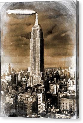 Empire State Building Blimp Docking Sepia Canvas Print