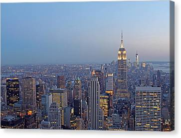 Empire State Building In Midtown Manhattan Canvas Print by Juergen Roth