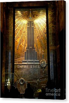 Empire State Building - Magnificent Lobby Canvas Print by Miriam Danar