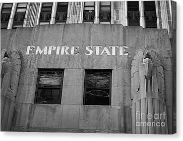 Empire State Building Nameplate Art Deco Gold Writing New York Canvas Print by Joe Fox