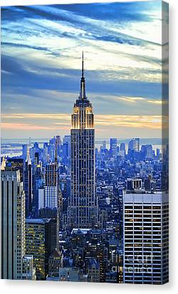 Street Lights Canvas Print - Empire State Building New York City Usa by Sabine Jacobs