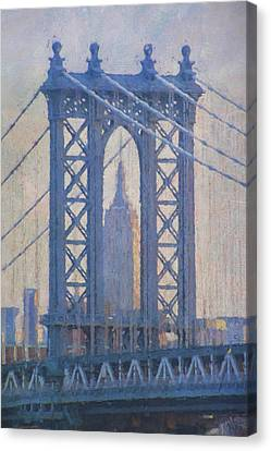 Empire State Building Through The Manhattan Bridge Canvas Print by Jean-Pierre Ducondi