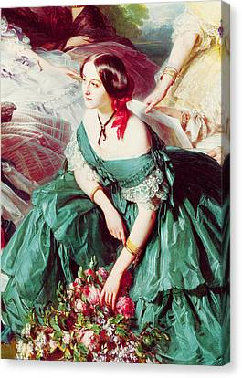 Ladies In Waiting Canvas Print - Empress Eugenie And Her Ladies In Waiting, Detail Of The Marquise Of Montebello, 1855 Oil On Canvas by Franz Xaver Winterhalter