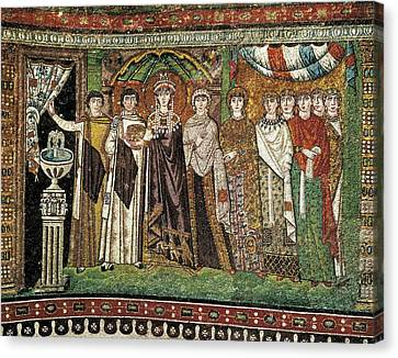 Empress Theodora With Her Court. Ca Canvas Print