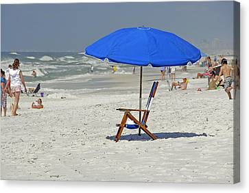 Canvas Print featuring the photograph Empty Beach Chair by Charles Beeler