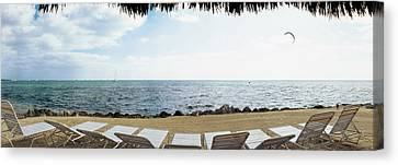 Empty Beach Chairs On The Beach, Key Canvas Print by Panoramic Images