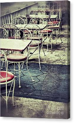 Old Diner Seating Canvas Print - Empty Chairs And Tables Outside At Restaurant by Birgit Tyrrell