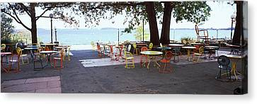 Empty Chairs With Tables In A Campus Canvas Print