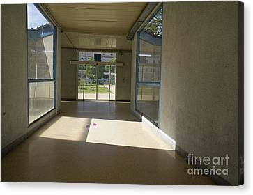 Empty Corridor At Public Hospital Canvas Print by Sami Sarkis