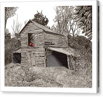 Barn Pen And Ink Canvas Print - Empty Old Barn by Jack Pumphrey