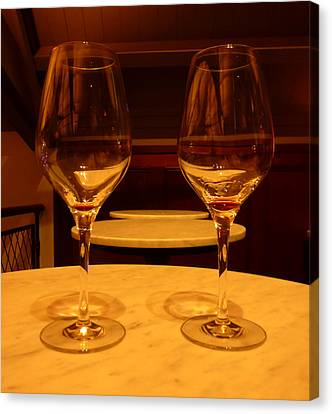 Coppola Winery Canvas Print - Empty Red Wine Glasses by Fabien White