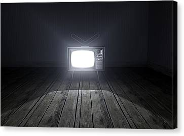 Empty Room With Illuminated Television Canvas Print by Allan Swart