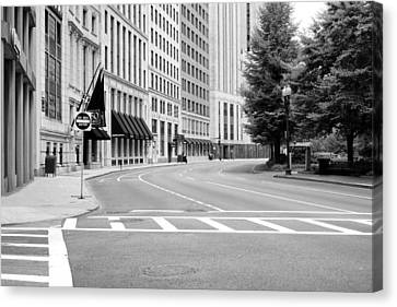 Empty Street In Boston Canvas Print by Boris Mordukhayev