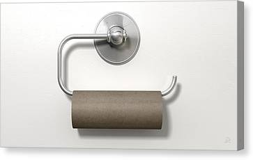Empty Toilet Roll On Chrome Hanger Canvas Print by Allan Swart