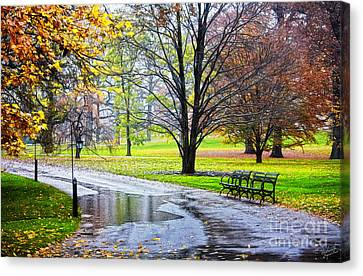 Empty Walkway On A Beautiful Rainy Autumn Day Canvas Print by Nishanth Gopinathan