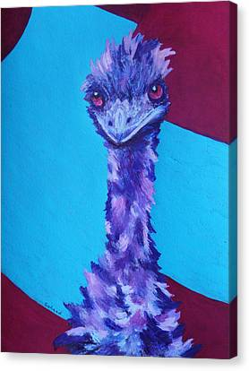 Canvas Print featuring the painting Emu Eyes by Margaret Saheed