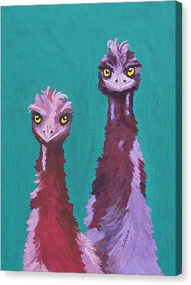 Canvas Print featuring the painting Emu Watch by Margaret Saheed