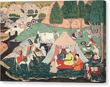 Encampment Of A Prince Painted Silk Canvas Print