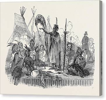 Encampment Of Ioway Indians, Lords Cricket Ground Canvas Print