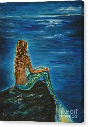 Enchanted Mermaid Beauty Canvas Print by Leslie Allen