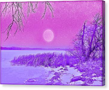 Canvas Print featuring the digital art Rosy Hued Moonlit Lake - Boulder County Colorado by Joel Bruce Wallach