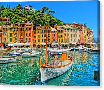 Enchanting Portofino In Ligure Italy V Canvas Print by M Bleichner