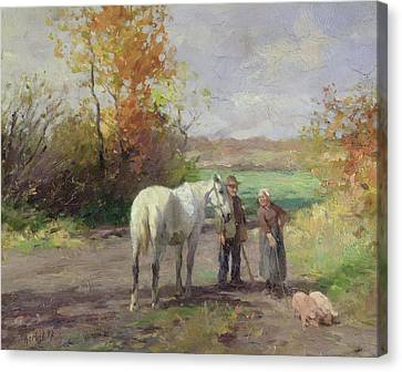 Encounter On The Way To The Field, 1897 Oil On Panel Canvas Print by Thomas Ludwig Herbst