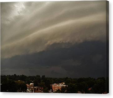 Canvas Print featuring the photograph Encroaching Shelf Cloud by Ed Sweeney