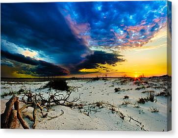 Canvas Print featuring the photograph Encroaching Storm Landscape-blue Clouds Sunset Beach by Eszra