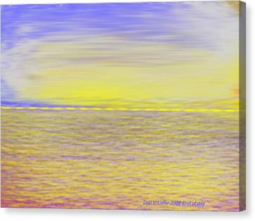 Canvas Print featuring the digital art End Of Day by Dr Loifer Vladimir