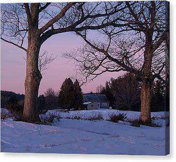 Maine Farmhouse Canvas Print - End Of Day by Joy Nichols