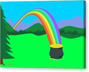 End Of Rainbow Pot Of Gold Canvas Print
