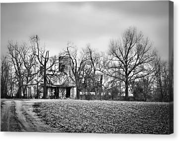 End Of The Road Farmhouse In Bw Canvas Print