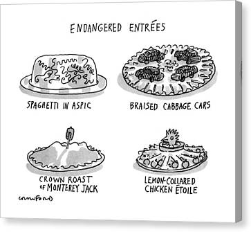Endangered Entrees Canvas Print by Michael Crawford