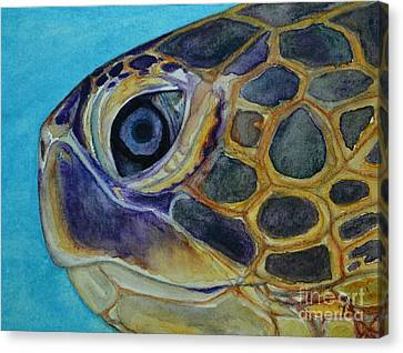 Canvas Print featuring the painting Eye Of The Honu by Suzette Kallen