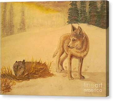 Endangered Wolves - Original Oil Painting Canvas Print