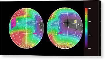 Energy Deposited On Europa Canvas Print by Nasa/jpl-caltech/univ. Of Ariz./jhuapl/univ. Of Colo.