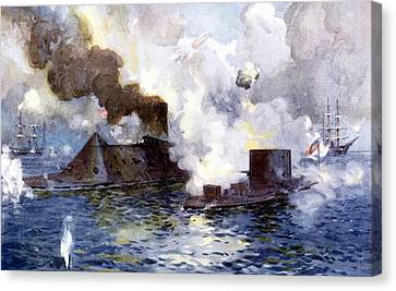 Engagement Between The Confederate Ironclad Merrimac Also Called Virginia And Monitor Canvas Print by American School