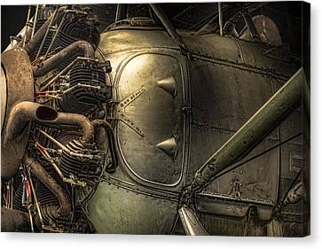 Radial Engine And Fuselage Detail - Radial Engine Aluminum Fuselage Vintage Aircraft Canvas Print by Gary Heller