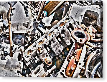 Engine For Parts - Automotive Recycling Canvas Print by Crystal Harman