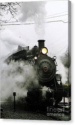 Engine Number 40 Making Steam Pulling Into New Hope Passenger Train Terminal Canvas Print by Michael Hoard