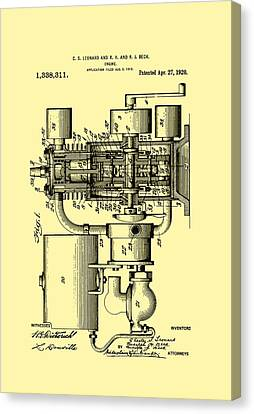 Engine Patent 1920 Canvas Print by Mountain Dreams