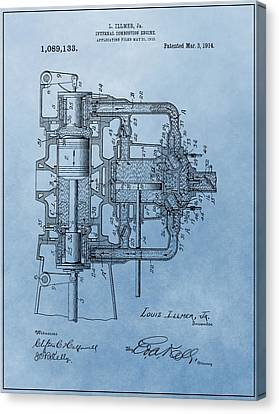 Combustion Canvas Print - Engine Patent Blue by Dan Sproul