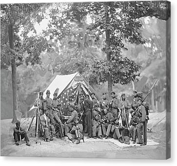 CIVIL WAR UNION SOLDIERS CAMP PHOTO PHOTOGRAPH ART POSTER PRINT ON REAL CANVAS