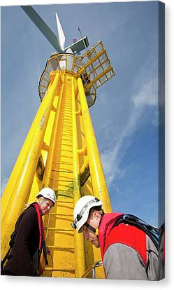 Engineer Climbing A Transition Piece Canvas Print