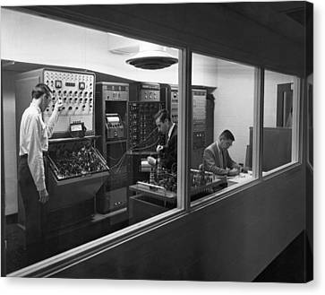 Foundation Canvas Print - Engineers Use Analog Computers by Underwood Archives
